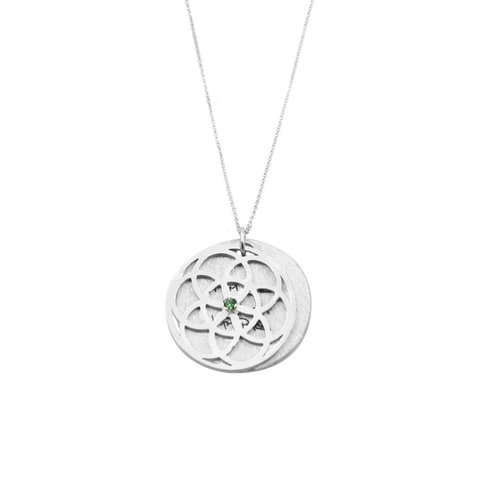 "SEED of Life Necklace Silver + Swarovski ""Green Erinite"""