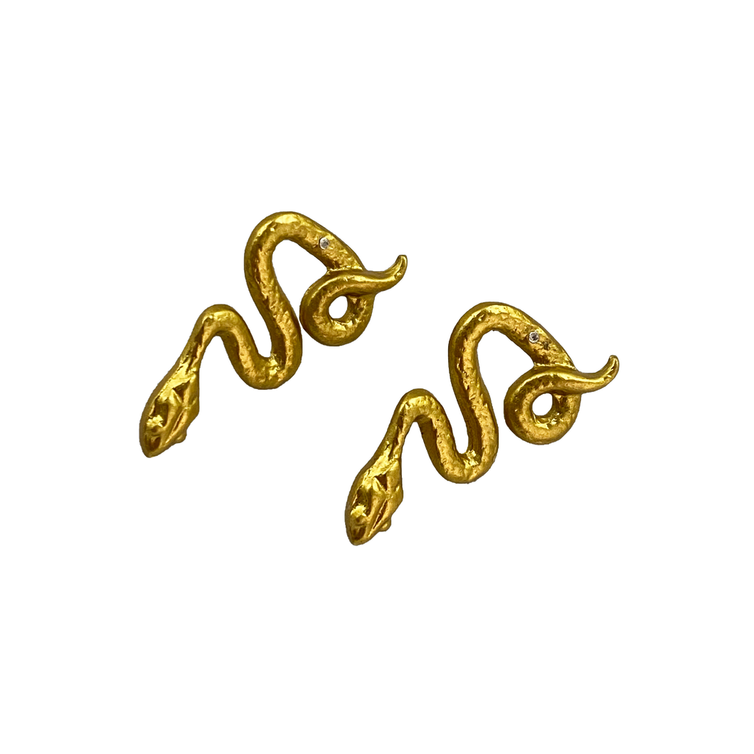 NEW GOLD TONE SNAKE EARRINGS