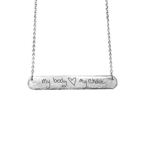 NEW - PROCHOICE WITH HEART COLLABORATION - MY BODY MY CHOICE BAR TAG NECKLACE