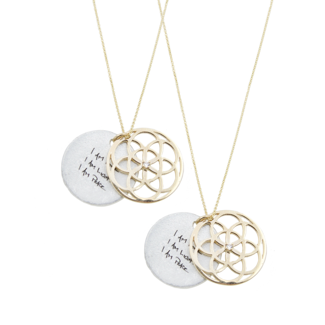 SEED OF LIFE NECKLACE 14K GOLD + DIAMOND SET  (RRP $1,300)