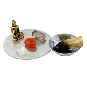 NEW MINI/TRAVEL ALTAR COASTER WITH BUDDHA AND MEDITATION STONES - PEACE IS A STATE OF BEING