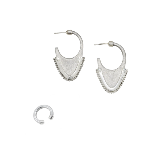 LAOS TRIBAL DOME EARRINGS + EAR CUFF SET (save 18%, reg. $230)