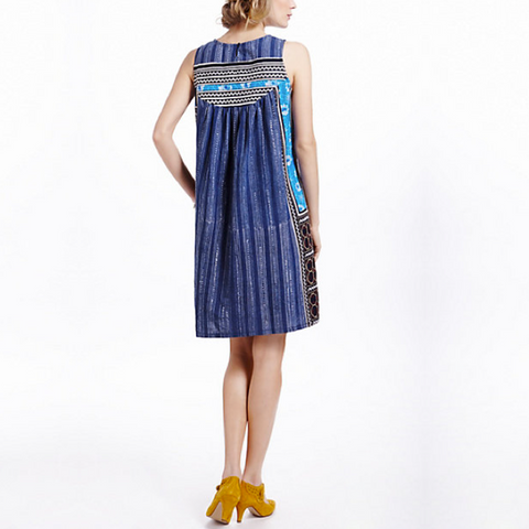 INDIGO BATIK EMBROIDERED DRESS