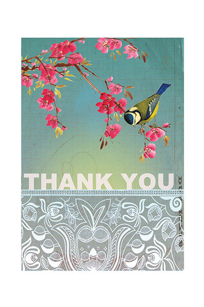 Bird & Blossom Thank You Small Card