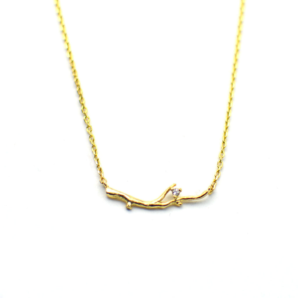 golden branch necklace with cz crystal