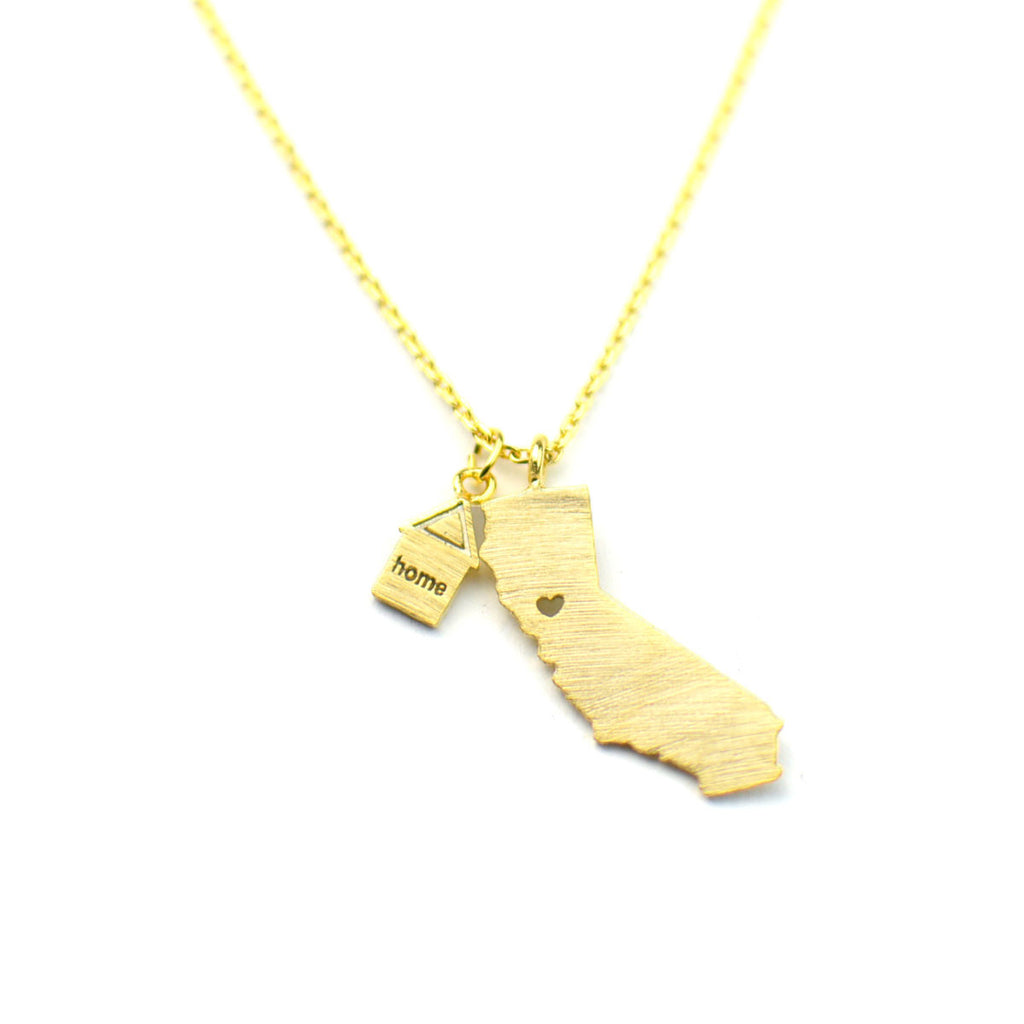 tiny california home golden necklace