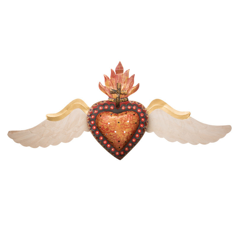 Painted Tin Flying Heart Lamp, Large