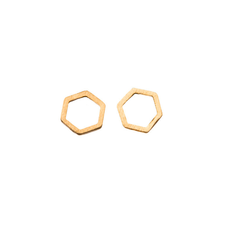Hexagon Cut Out Stud Earrings Gold