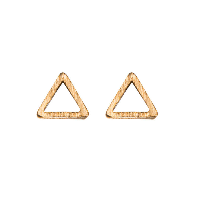 Triangle Cut Out Stud Earrings Gold