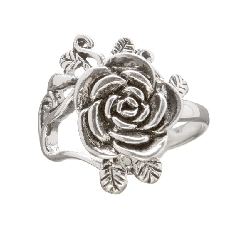 Silver Plated Rose Ring