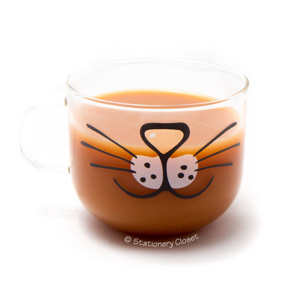 Glass cat mug