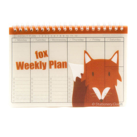 Wildlife animal weekly planner/organiser - fox