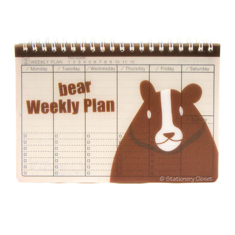 Wildlife animal weekly planner/organiser - bear