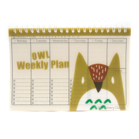 Wildlife animal weekly planner/organiser - owl