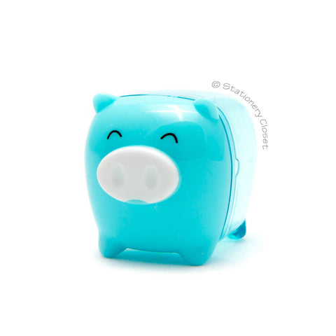 Piggy pencil sharpener - blue