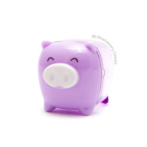 Piggy pencil sharpener - purple