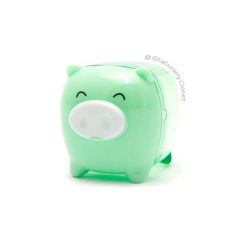 Piggy pencil sharpener - green