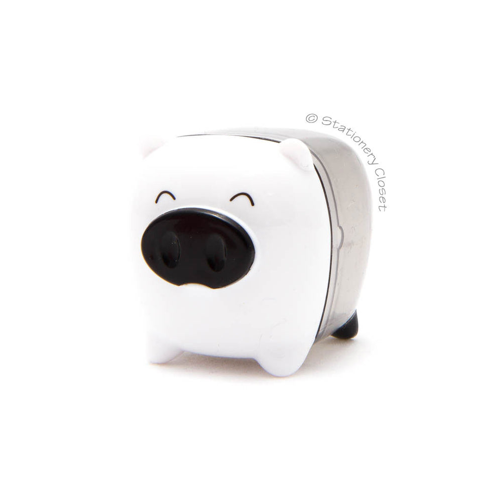 Piggy pencil sharpener - white