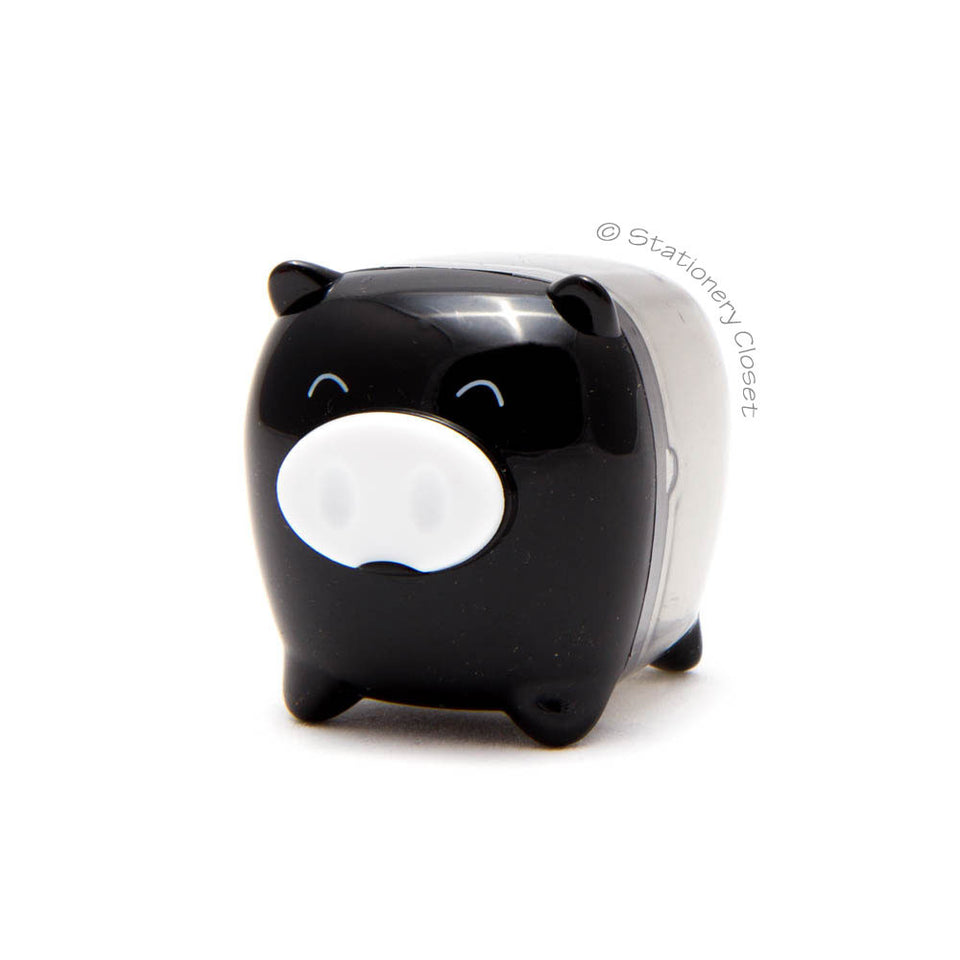 Piggy pencil sharpener - black