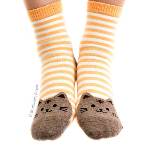Stripey cat socks - orange