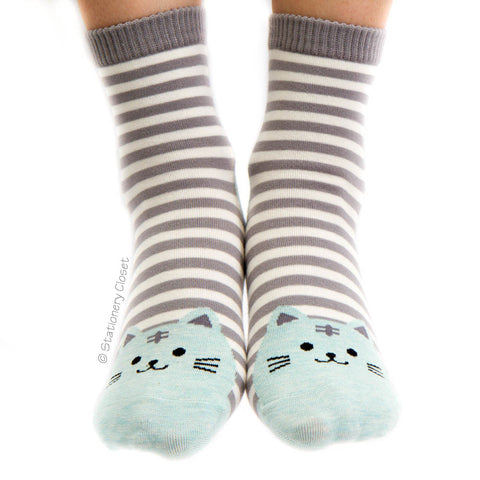 Stripey cat socks - blue