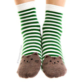 Stripey cat socks - green