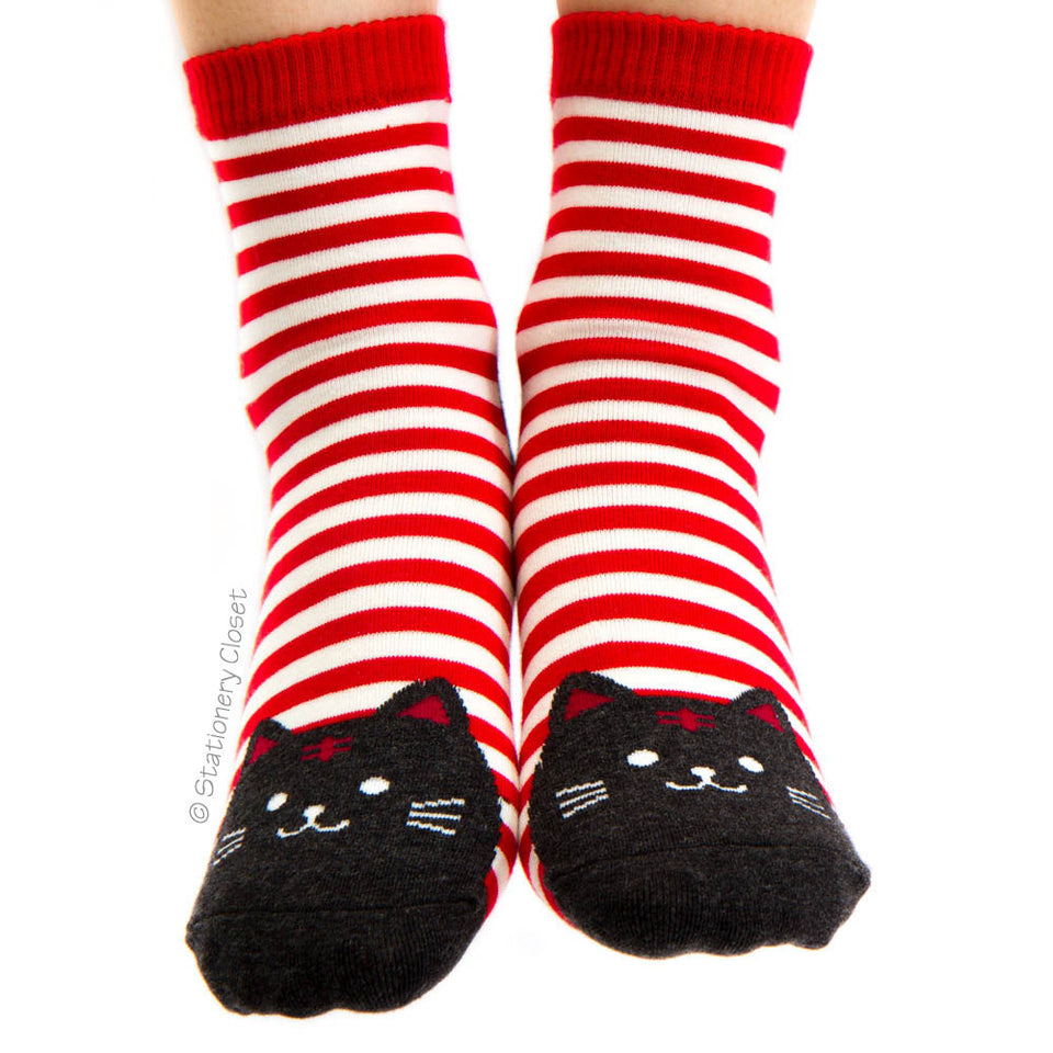 Stripey cat socks - red