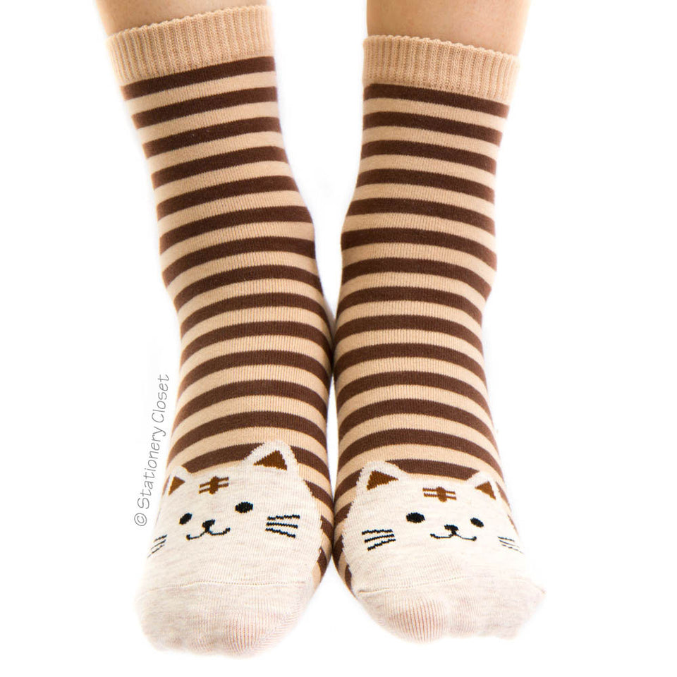 Stripey cat socks - brown