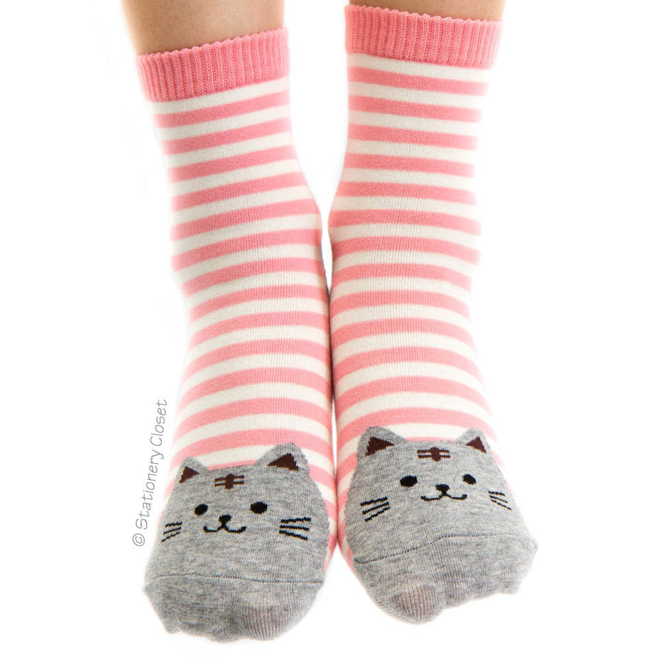 Stripey cat socks - pink