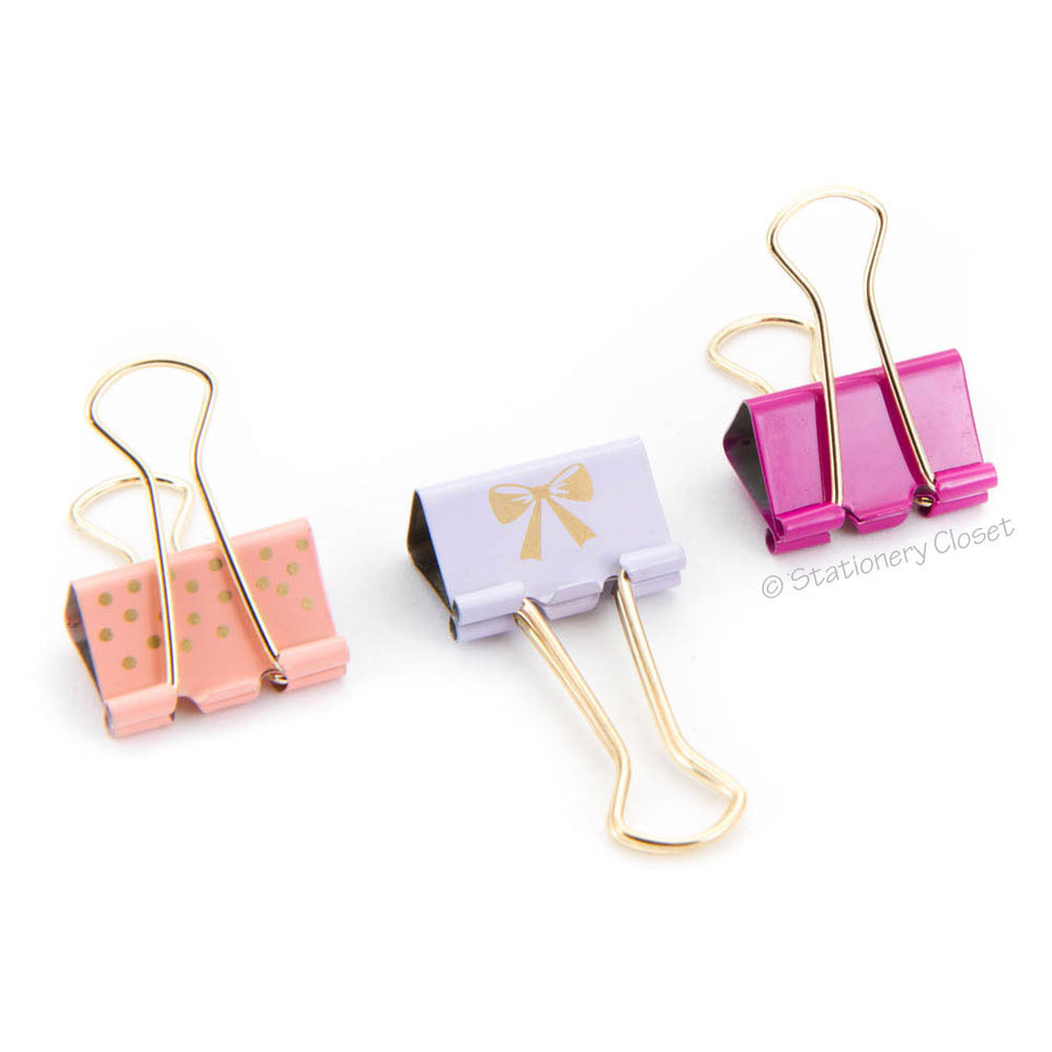 Patterned gold fold-back clips (set of 3)