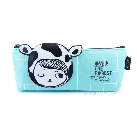 Dress-up girl pencil case - cow