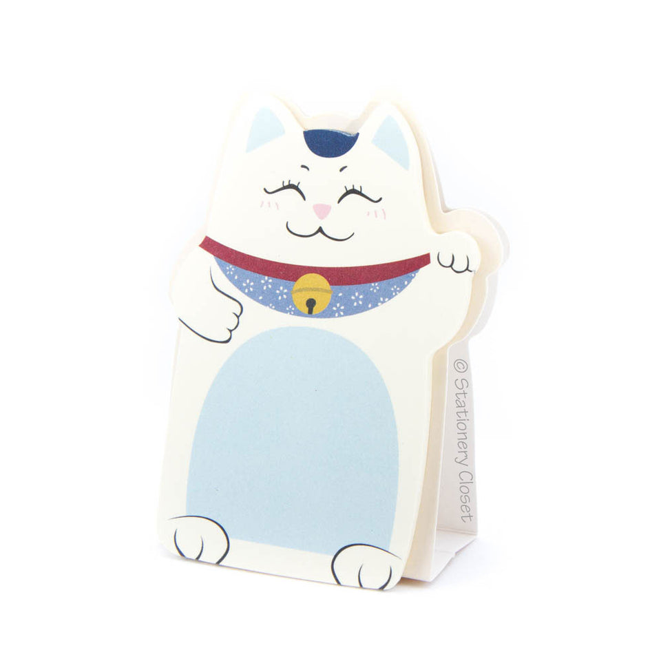 Lucky fortune cat sticky notes - blue