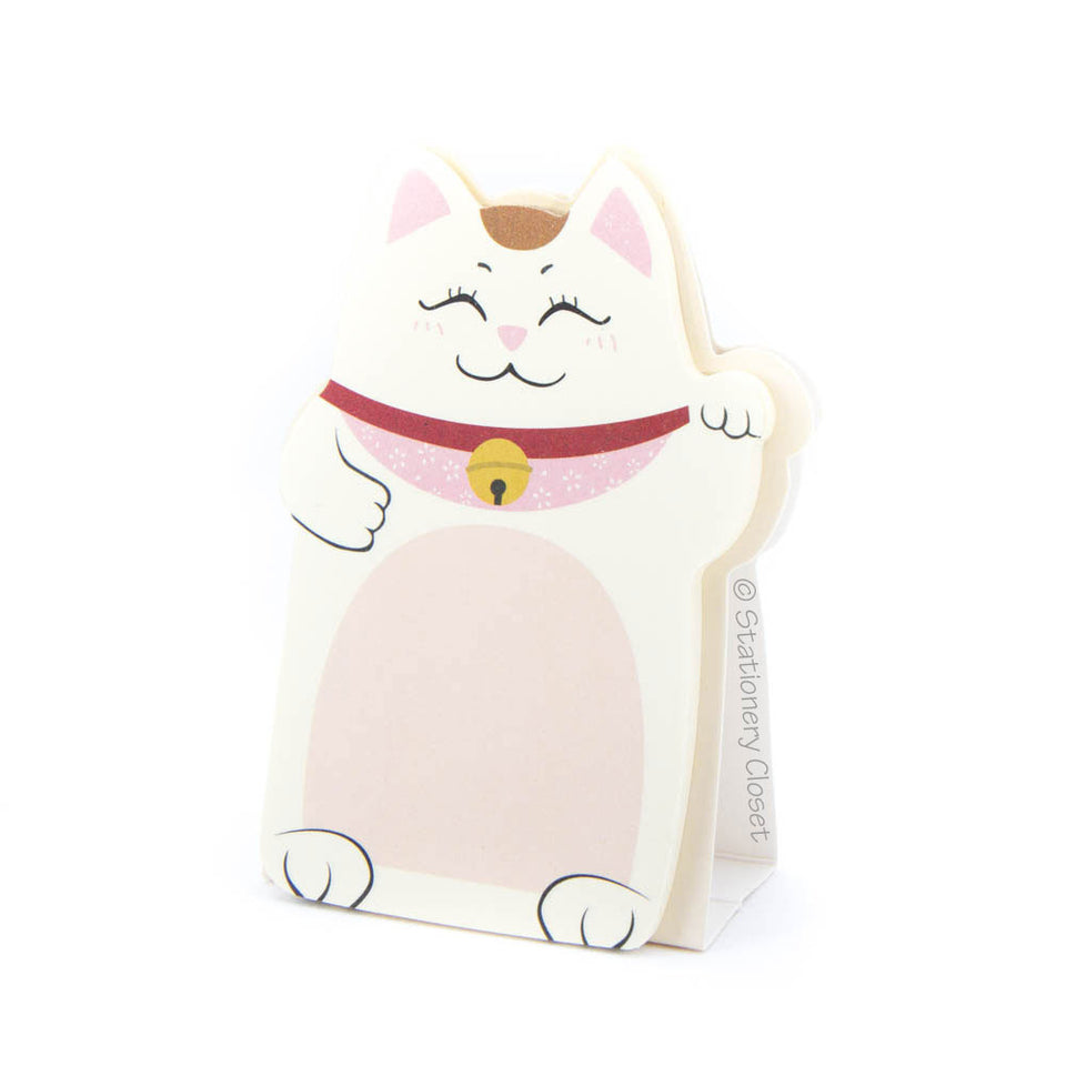 Lucky fortune cat sticky notes - pink