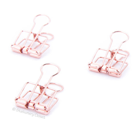 Copper/rose gold skeleton fold-back clips (set of 3)