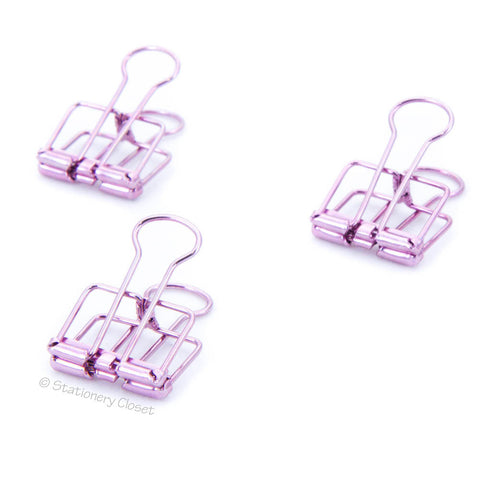 Metallic purple skeleton fold-back clips (set of 3)