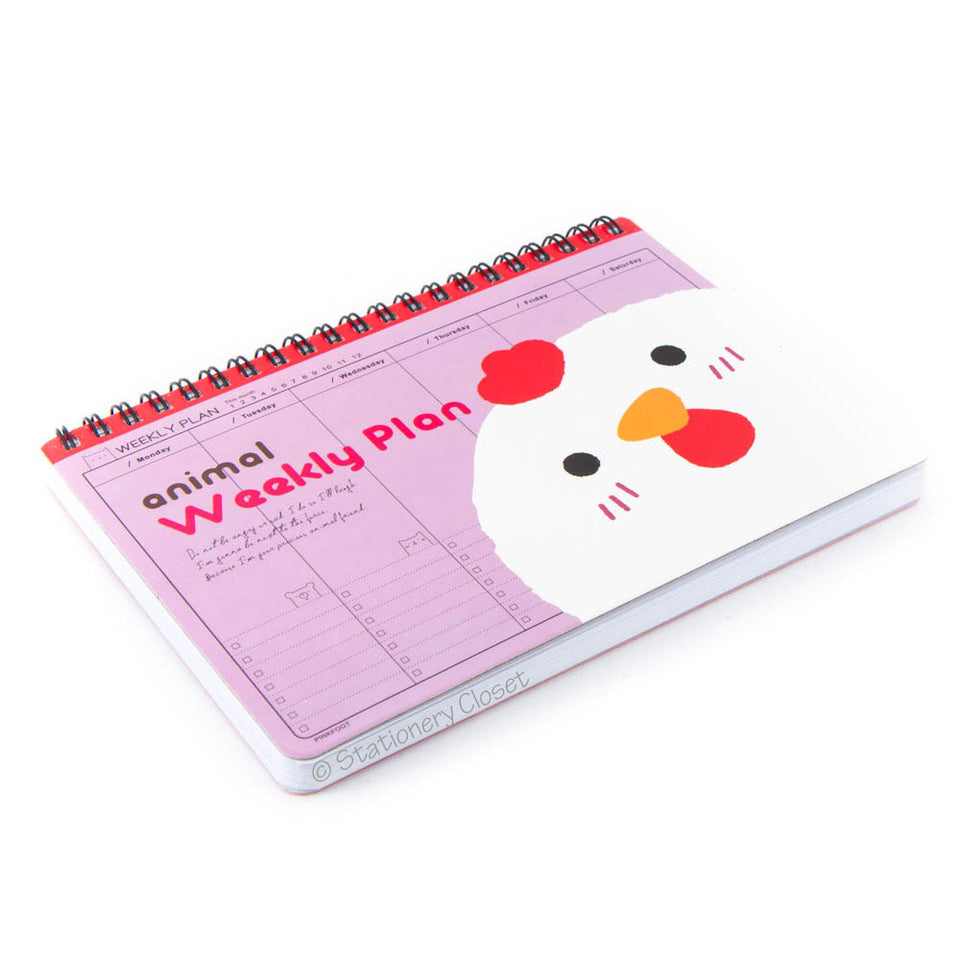 Cartoon animal weekly planner/organiser - chicken