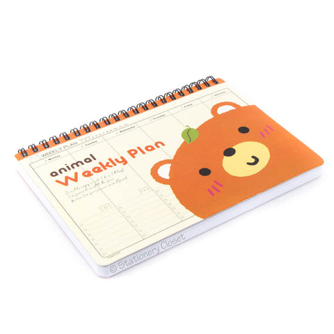 Cartoon animal weekly planner/organiser - brown bear