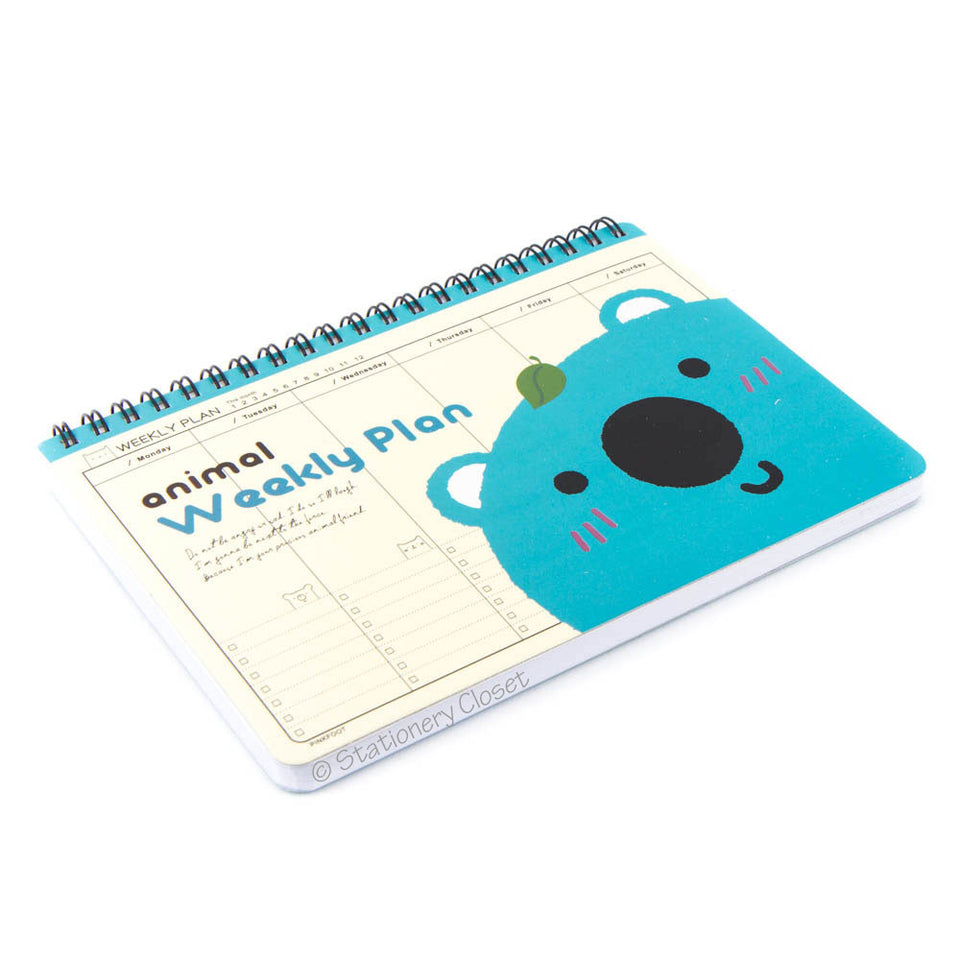 Cartoon animal weekly planner/organiser - koala bear