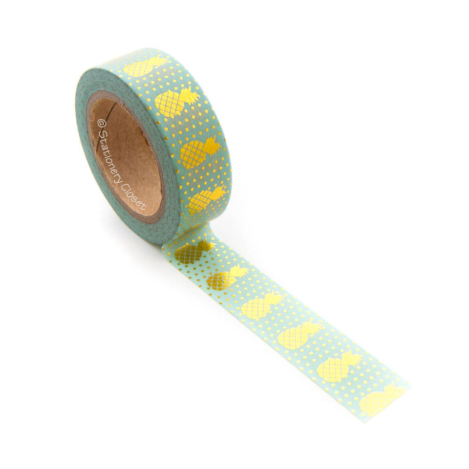 Washi tape - gold pineapples (turquoise/mint background)