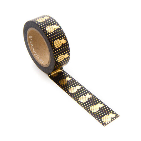Washi tape - gold pineapples (black background)