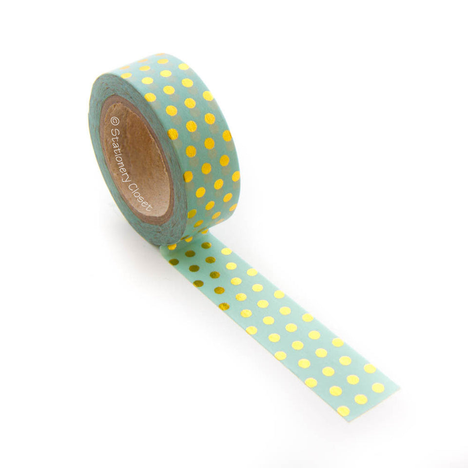 Washi tape - gold polka dots (turquoise/mint background)