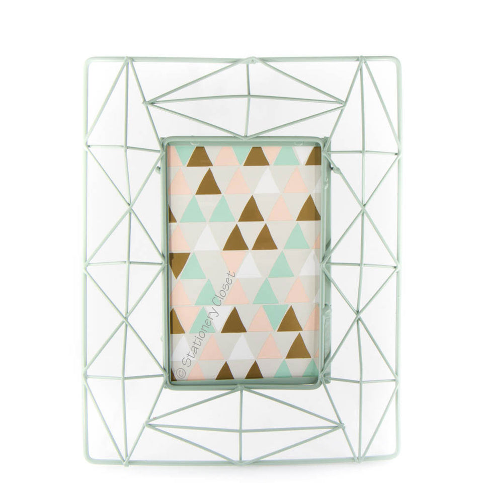 Geometric wire frame - minty green (medium)