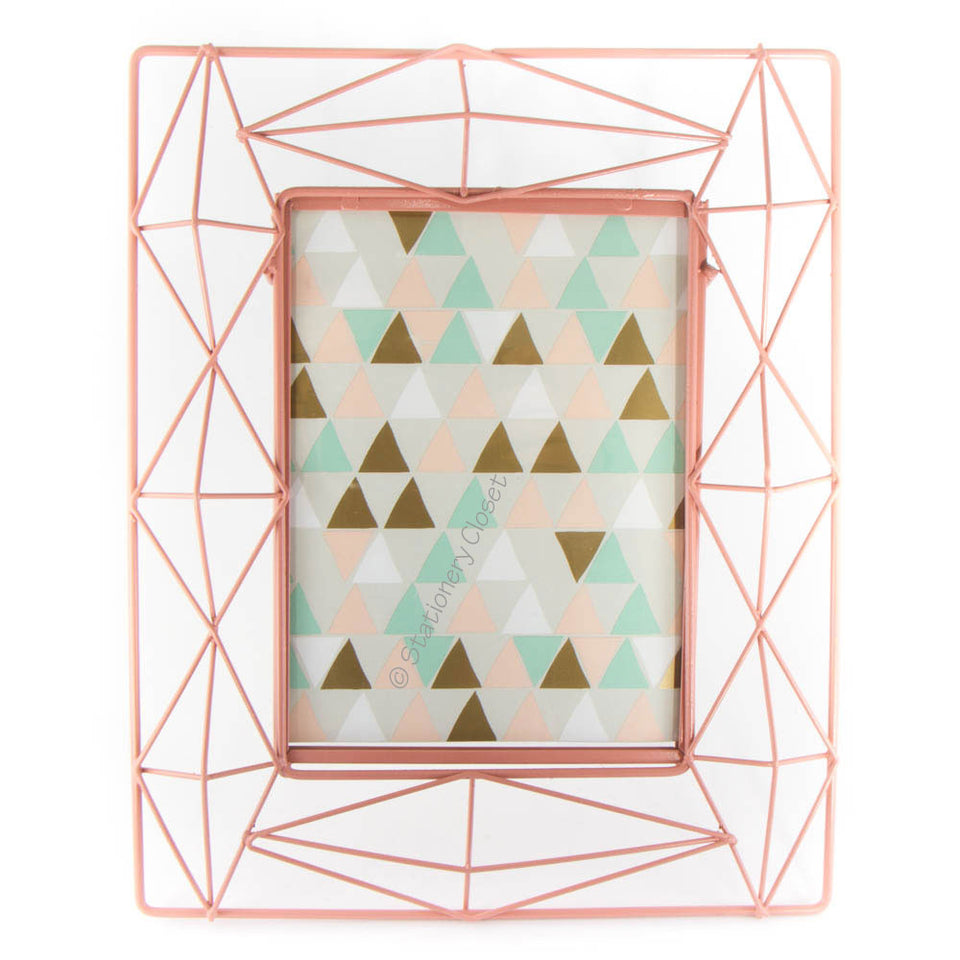Geometric wire frame - peachy pink (large)