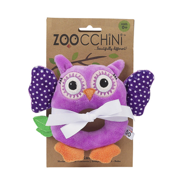 zoocchini animal rattle, owl purple