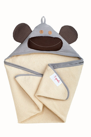 3 Sprouts Hooded Baby Towel Grey Monkey - Sale