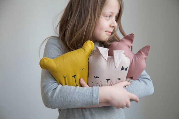 Fabelab bear, bunny and cat cushion lifestyle