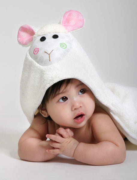 zoocchini hooded towel, lamb