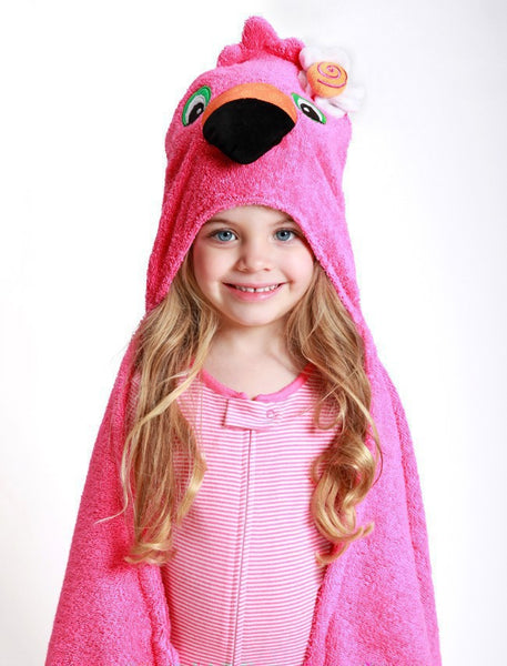 zoocchini hooded towel, florrie the flamingo
