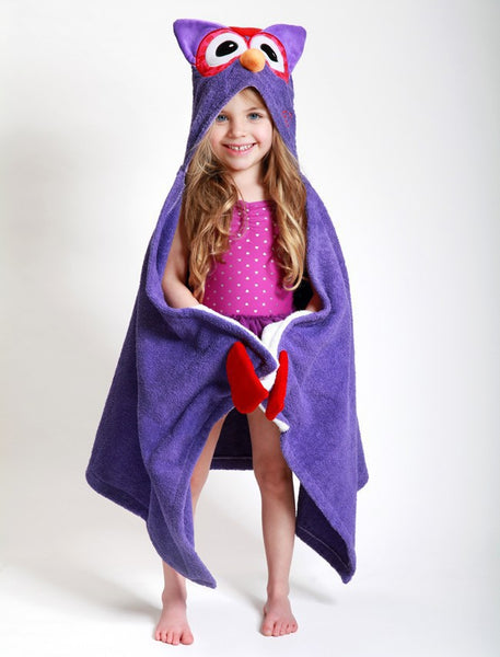 zoocchini hooded towel, olive the owl