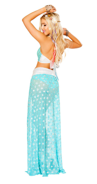 Aqua Silver Star Light Up Star Shorts Set by J Valentine - HussyStore - 4